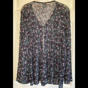 NWOT LOGO sheer lace open cardigan with tie.